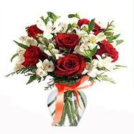 """""""Bouquet of flowers from alstromeries and roses"""" in the online flower shop roza.zp.ua"""