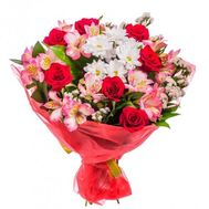 """""""Bouquet of roses, alstromeries and chrysanthemums"""" in the online flower shop roza.zp.ua"""