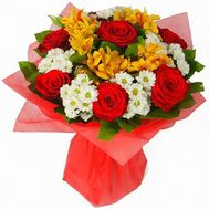 """Bouquet of chrysanthemums, roses and alstroemerias"" in the online flower shop roza.zp.ua"
