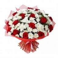 """""""Bouquet of flowers from chrysanthemums and roses"""" in the online flower shop roza.zp.ua"""