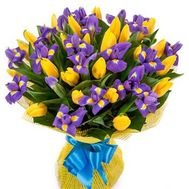 Bouquet of 24 tulips and 17 irises - flowers and bouquets on roza.zp.ua
