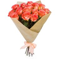 Bouquet of 15 Coral Roses - flowers and bouquets on roza.zp.ua