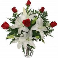 """""""Bouquet of flowers from lilies and roses"""" in the online flower shop roza.zp.ua"""