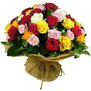 """Bouquet of flowers from 55 multi-colored roses"" in the online flower shop roza.zp.ua"