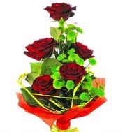 """""""Bouquet of flowers from roses and chrysanthemums"""" in the online flower shop roza.zp.ua"""