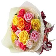 """Bouquet of 15 different-colored roses"" in the online flower shop roza.zp.ua"