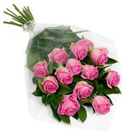 """Bouquet of 13 pink roses"" in the online flower shop roza.zp.ua"