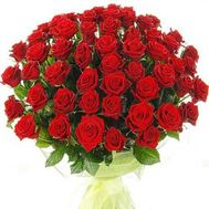 Bouquet of flowers from 51 red roses - flowers and bouquets on roza.zp.ua