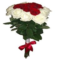 """Bouquet of hearts from 21 roses"" in the online flower shop roza.zp.ua"