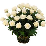 Basket of 29 white roses - flowers and bouquets on roza.zp.ua
