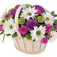 Basket of flowers from chrysanthemums and carnations - flowers and bouquets on roza.zp.ua