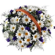 Basket of flowers from 9 chamomile chrysanthemums - flowers and bouquets on roza.zp.ua