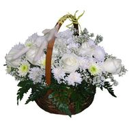 """Basket of 7 roses and 10 chrysanthemums"" in the online flower shop roza.zp.ua"