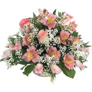 """Basket of flowers from 10 alstromeries and 3 roses"" in the online flower shop roza.zp.ua"