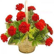 Basket of flowers from 19 carnations - flowers and bouquets on roza.zp.ua