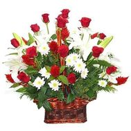 Basket of flowers from 19 roses, 9 chrysanthemums and 3 lilies - flowers and bouquets on roza.zp.ua