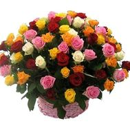 Basket of flowers from 75 multi-colored roses - flowers and bouquets on roza.zp.ua