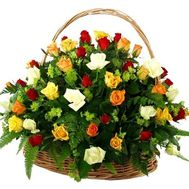 Basket of flowers from 55 multi-colored roses - flowers and bouquets on roza.zp.ua
