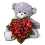 """Bear with heart from roses"" in the online flower shop roza.zp.ua"