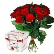 """""""Bouquet of 17 Roses and Raffaello"""" in the online flower shop roza.zp.ua"""