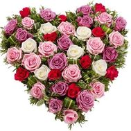 """Heart-shaped composition of 45 roses"" in the online flower shop roza.zp.ua"