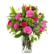 """""""Bouquet of gerberas, roses and lilies"""" in the online flower shop roza.zp.ua"""