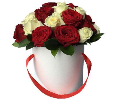 """""""Коробка с красными и белыми розами"""" в интернет-магазине цветов roza.zp.ua"""
