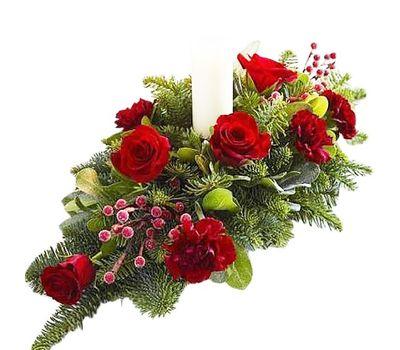 """""""Композиция на стол со свечой"""" в интернет-магазине цветов roza.zp.ua"""