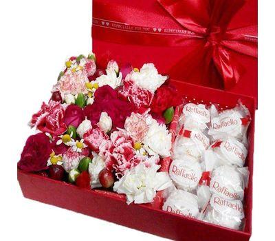 """""""Композиция в коробке с рафаэлло"""" в интернет-магазине цветов roza.zp.ua"""