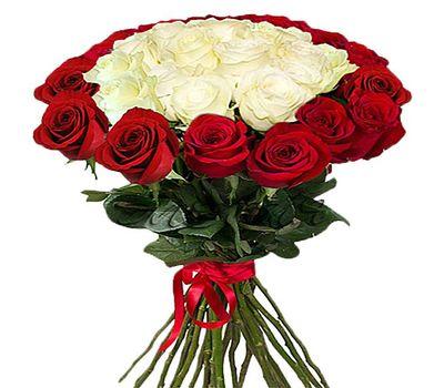 """""""Красно белый букет импортных роз"""" в интернет-магазине цветов roza.zp.ua"""