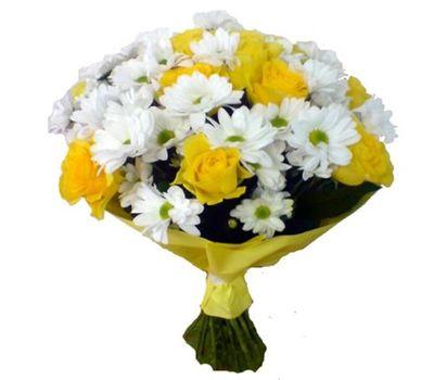"""""""Букет из 11 желтых роз и 4 белых хризантем"""" в интернет-магазине цветов roza.zp.ua"""