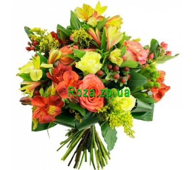 """Bouquet of roses and alstroemerias"" in the online flower shop roza.zp.ua"