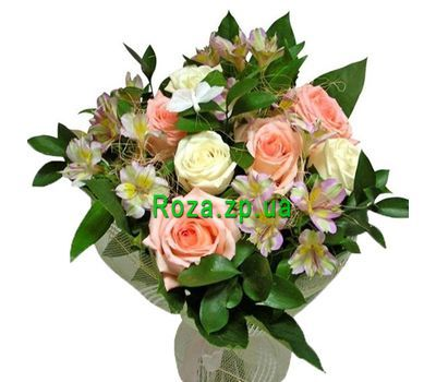"""Bouquet of 7 roses and 4 alstroemerias"" in the online flower shop roza.zp.ua"