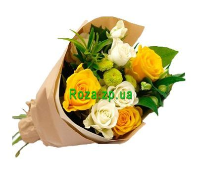 """Bouquet of 6 roses, 2 alstromeries and 1 chrysanthemum"" in the online flower shop roza.zp.ua"