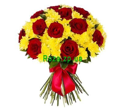 """Bouquet of roses and chrysanthemums"" in the online flower shop roza.zp.ua"