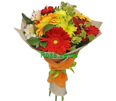 """Bouquet of gerberas, alstroemerias and chrysanthemums"" in the online flower shop roza.zp.ua"