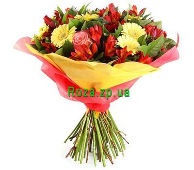 """Bouquet of gerberas, roses and alstroemerias"" in the online flower shop roza.zp.ua"