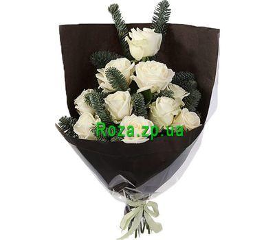 """""""Белые розы с елью"""" в интернет-магазине цветов roza.zp.ua"""
