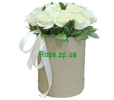 """""""Белые розы в высокой коробке"""" в интернет-магазине цветов roza.zp.ua"""