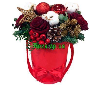 """""""Коробка на Новый год с цветами и елью"""" в интернет-магазине цветов roza.zp.ua"""