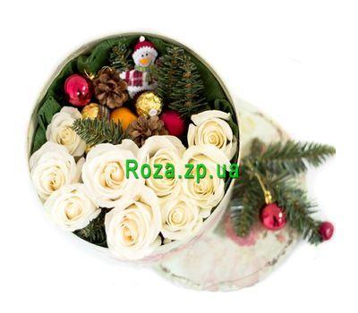 """""""Небольшая новогодняя коробка цветов"""" в интернет-магазине цветов roza.zp.ua"""