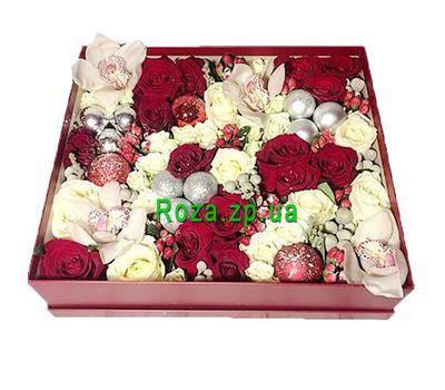 """""""Новогодняя композиция в прямоугольной коробке"""" в интернет-магазине цветов roza.zp.ua"""