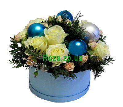 """""""Новогодняя композиция в шляпной коробке из роз"""" в интернет-магазине цветов roza.zp.ua"""