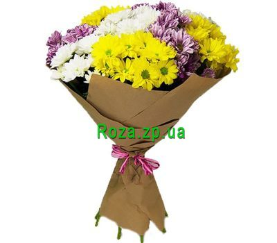 """Pleasant bouquet of chrysanthemums in kraft paper"" in the online flower shop roza.zp.ua"