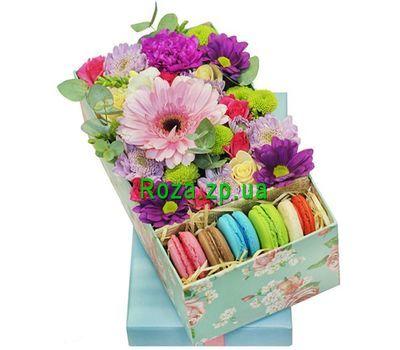"""""""Цветы и макаруны в коробке"""" в интернет-магазине цветов roza.zp.ua"""