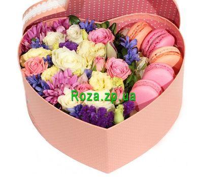 """""""Красивое сердце из цветов и макарун"""" в интернет-магазине цветов roza.zp.ua"""