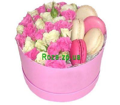 """""""Кустовые розы и макаруны в коробочке"""" в интернет-магазине цветов roza.zp.ua"""