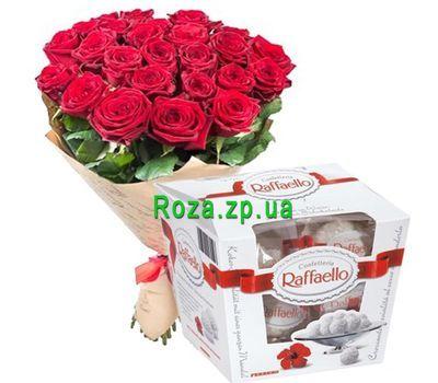 """""""25 красных роз и рафаэлло"""" в интернет-магазине цветов roza.zp.ua"""