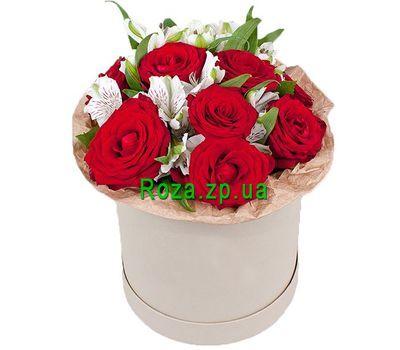 """""""Мини коробка с красными розами и альстромериями"""" в интернет-магазине цветов roza.zp.ua"""