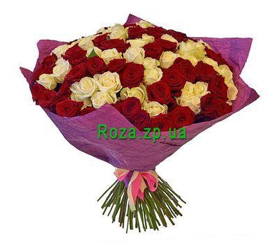 """101 красная и белая роза"" в интернет-магазине цветов roza.zp.ua"